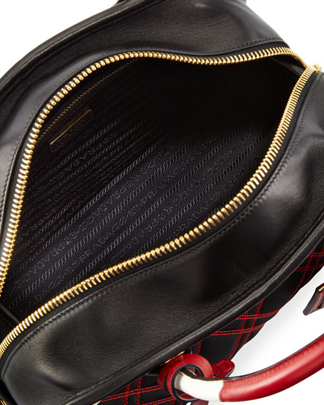 Greca Quilted Nylon Small Shoulder Bag