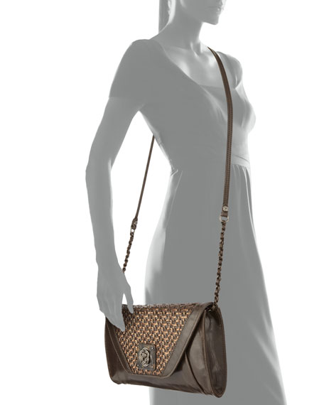 Bali Cordoba Basketweave Leather Clutch Bag, Java Mist