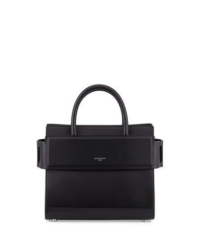Horizon Mini Leather Satchel Bag, Black