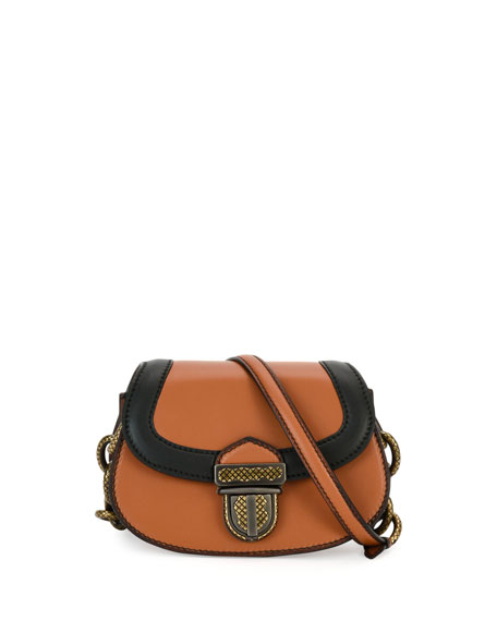 Umbria Mini French Calf Shoulder Bag, Tan