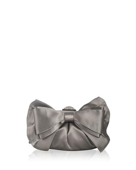 Madison Satin Bow Clutch Bag, Silver Platinum
