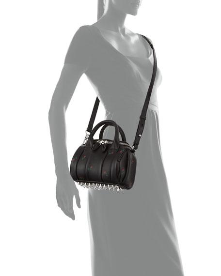 Mini Rockie Embroidered Leather Satchel Bag, Black