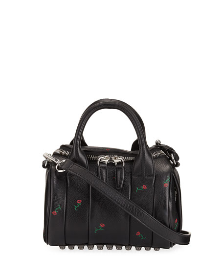 Alexander Wang Mini Rockie Embroidered Leather Satchel Bag,