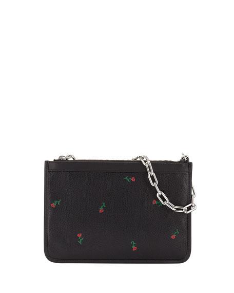 Attica Embroidered Leather Shoulder Bag, Black