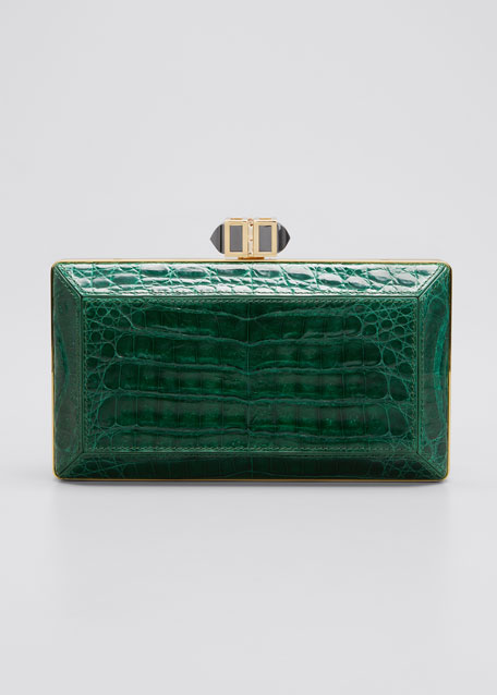 Judith Leiber Couture Coffered Crocodile Minaudiere Clutch Bag