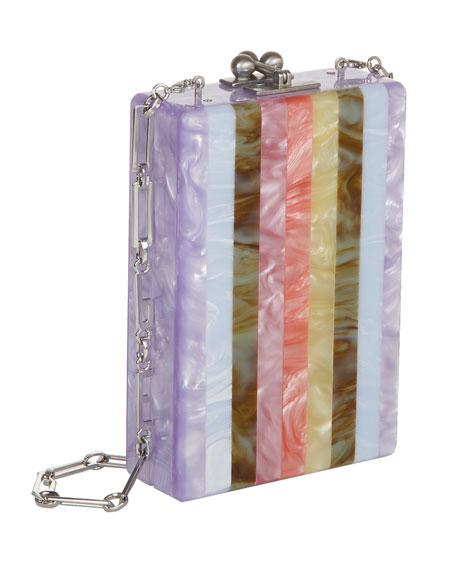 Carol Striped Acrylic Clutch Bag, Lavender