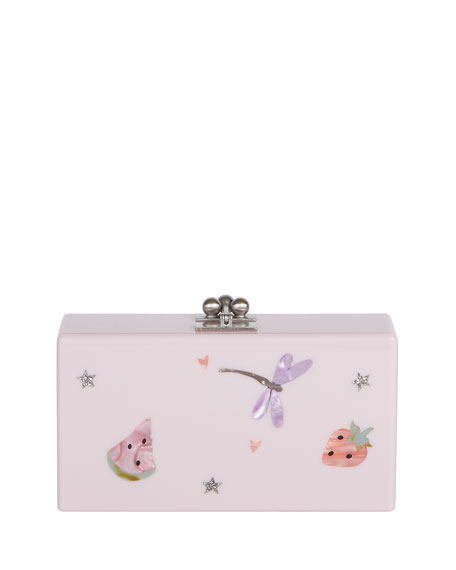 Jean Picnic Acrylic Clutch Bag, White Pattern