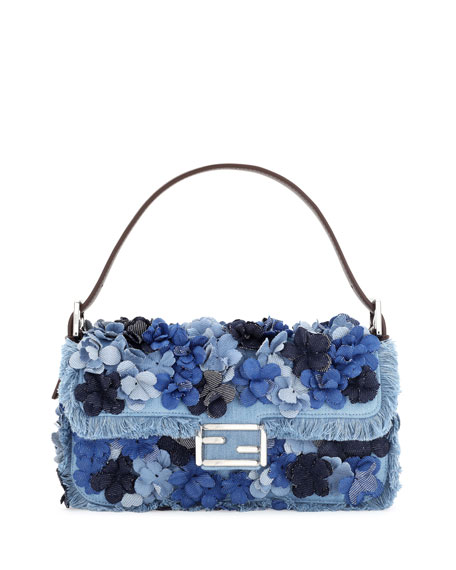 Baguette Denim Flowers Shoulder Bag, Denim