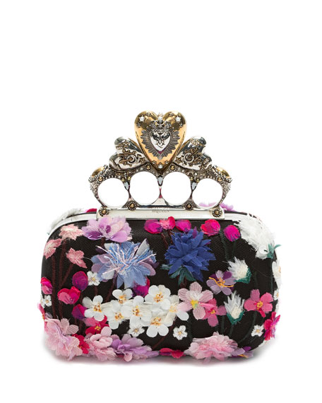Flocked Floral Hearth Box Clutch Bag