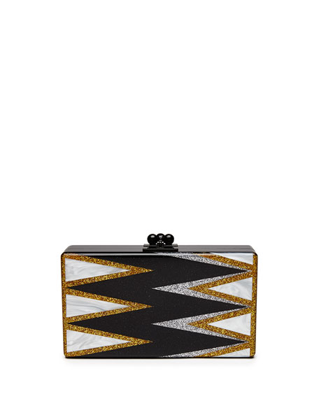 Jean Twist Acrylic Clutch Bag, Obsidian
