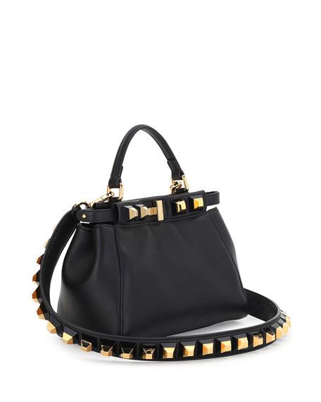 9bd5d48efe37 Fendi Peekaboo Mini Studded Leather Satchel Bag