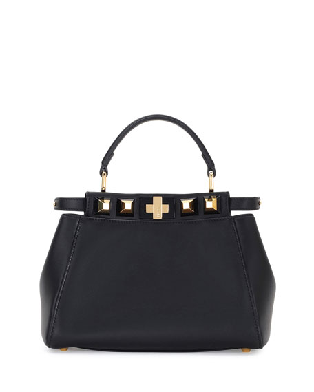 Peekaboo Mini Studded Leather Satchel Bag, Black/Gold