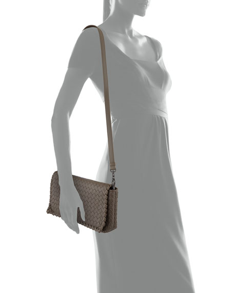 831fba6ae56b Bottega Veneta Medium Intrecciato Flap Clutch Bag w Strap