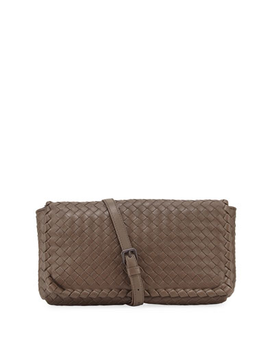 Medium Intrecciato Flap Clutch Bag w/Strap, Steel