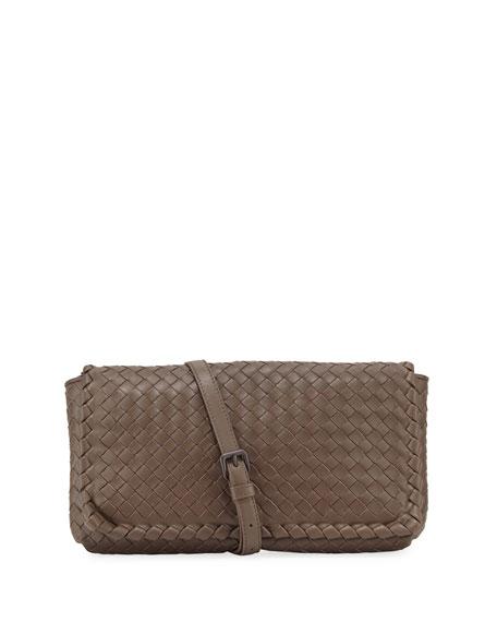 Bottega Veneta Medium Intrecciato Flap Clutch Bag w/Strap,