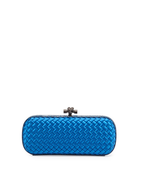 Knot Satin Elongated Minaudiere, Bluette