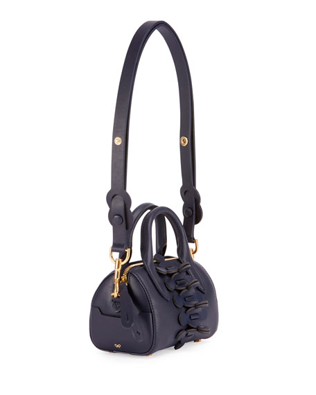 Vere Mini Barrel Apex Satchel Bag, Dark Blue