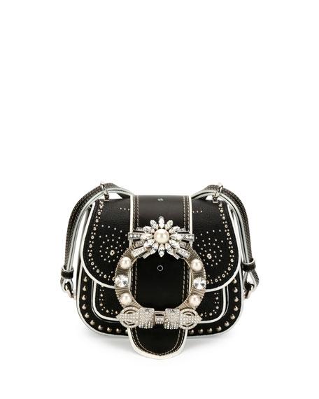 MIU MIU Dahlia Jewel-Buckle Studded Leather Shoulder Bag, Black