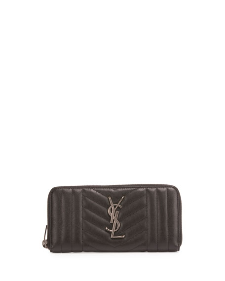 Zip Around Matelasse Wallet, Black