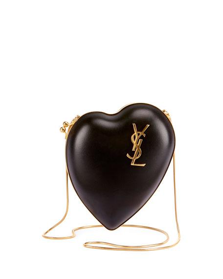 Love Leather Box Clutch Bag, Black