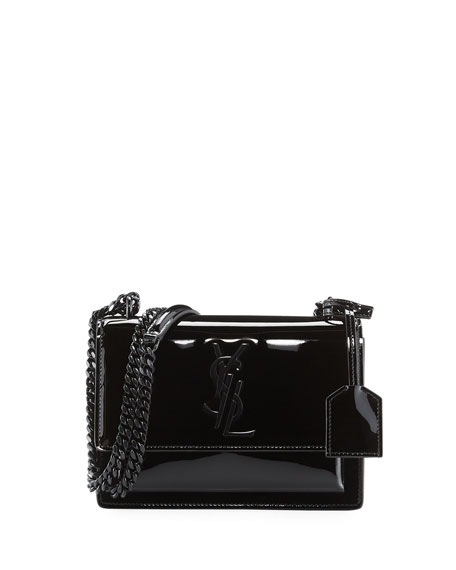 5952c43b09b Saint Laurent Monogram Sunset Small Patent Chain Bag, Black