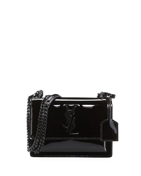 Monogram Sunset Small Patent Chain Bag, Black