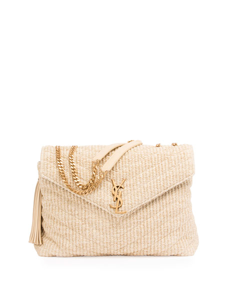 Medium Soft Raffia Chain Shoulder Bag
