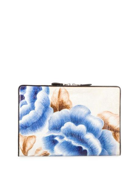Blanket Floral-Print Leather Pouch, Blue/Black