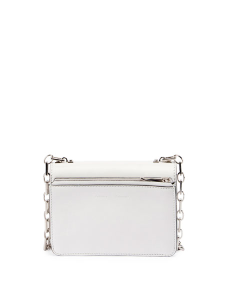 Hava Leather Chain Shoulder Bag, White