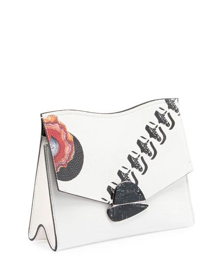 Medium Printed Curl Clutch Bag, White