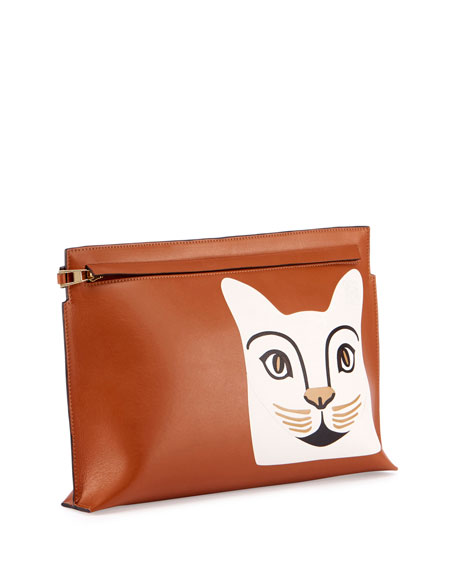 Painted Cat Pouch Bag, Brown