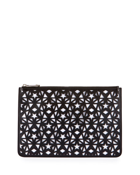 Pandora Star Medium Pouch Bag, Black/White