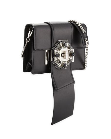 Jewels Ribbon Flap Shoulder Bag, Black (Nero)