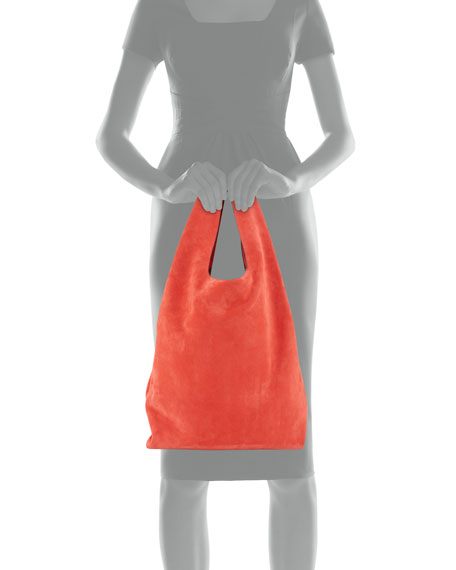 Suede Shopper Tote Bag, Red