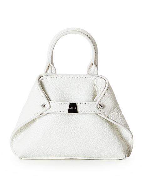 Akris Ai Nano Grained Leather Messenger Bag, White
