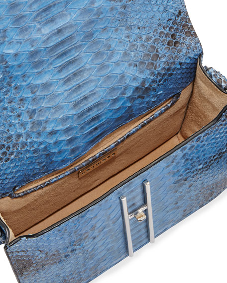 Matte Python Mini Crossbody Bag, Sky Blue