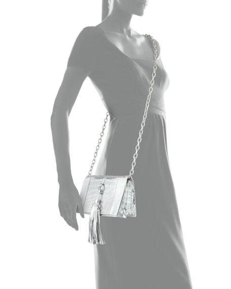 Small Tassel Crocodile Crossbody Bag, Silver