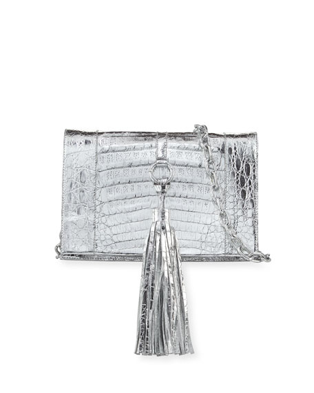 Nancy Gonzalez Small Tassel Crocodile Crossbody Bag, Silver