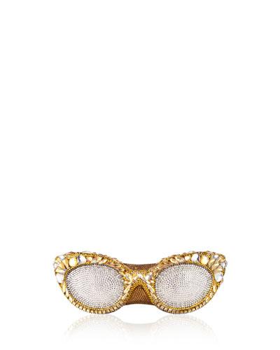 Crystal-Embellished Eyeglass Clutch Bag