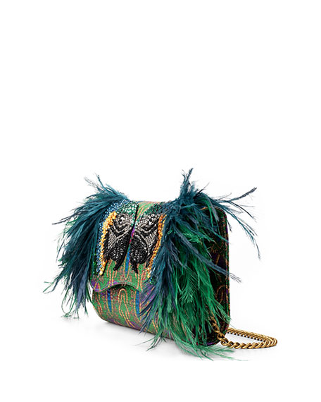Broadway Brocade Clutch with Feather Embellishment