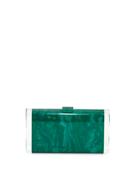 Edie Parker Lara Backlit Acrylic Clutch Bag, Green