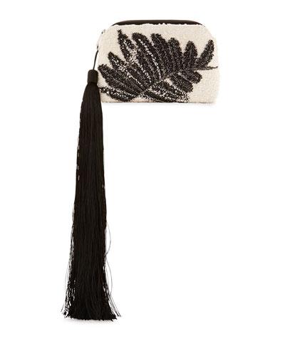 Embellished Tweed Mini Tassel Wristlet Bag, White/Black