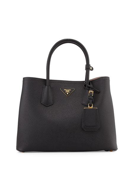 ae566b673b88 Prada Saffiano East-West Medium Tote Bag, Black (Nero)