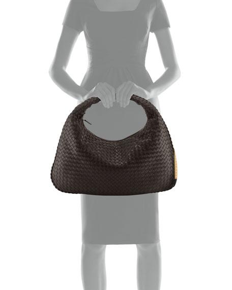 Intrecciato Woven Large Hobo Bag, Dark Brown