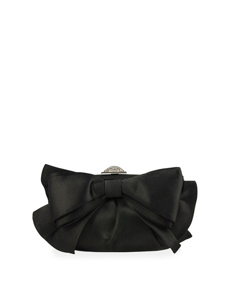 Madison Satin Bow Evening Clutch Bag, Black