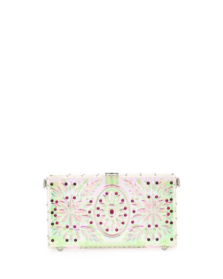 Embellished Plexiglass Box Clutch Bag, White Pattern
