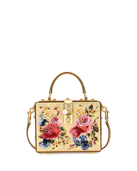 Dolce Box Medium Mirror Crystal Shoulder Bag, Gold