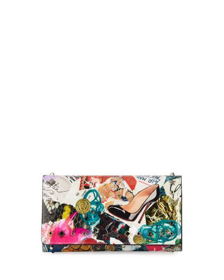 Macaron Trash-Print Flap Wristlet Wallet, Multi