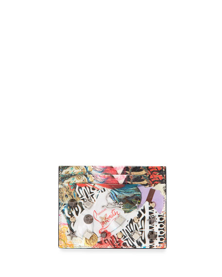 Christian Louboutin Kios Spikes Card Holder, Trash Print