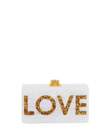Edie Parker Jean Love Acrylic Clutch Bag, White